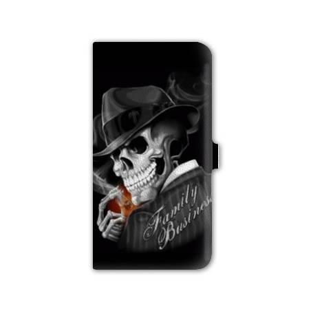 Housse cuir portefeuille Iphone 7 tete de mort