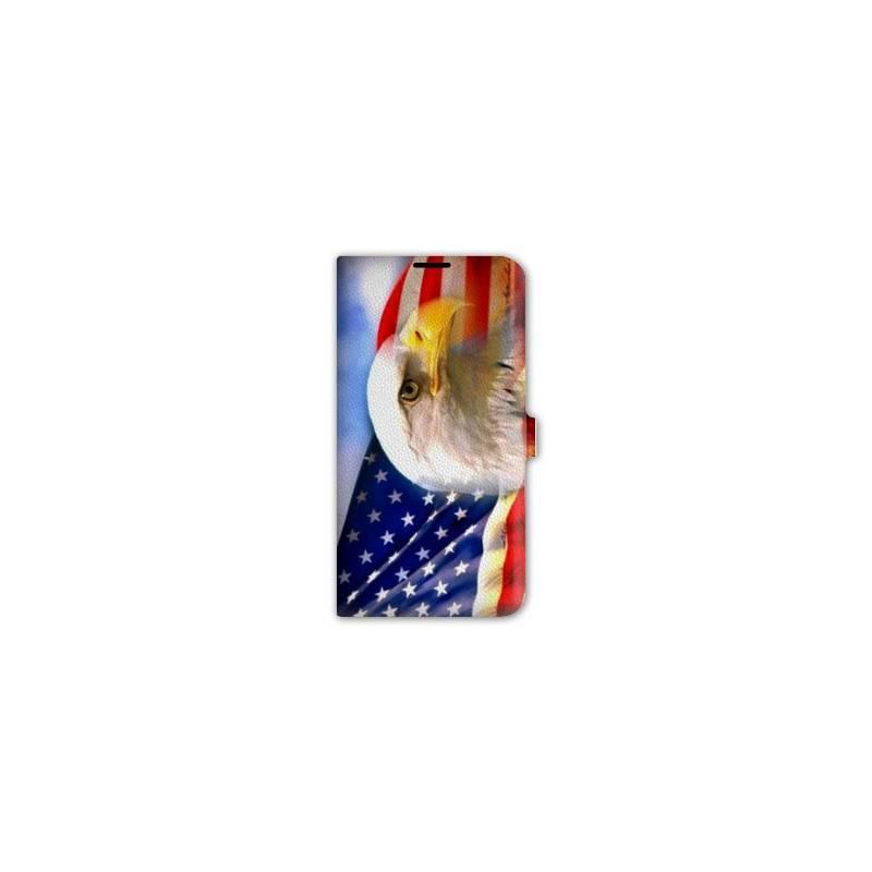 Housse cuir portefeuille pour iphone 7 Amerique