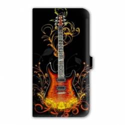 Housse cuir portefeuille Iphone 7 guitare