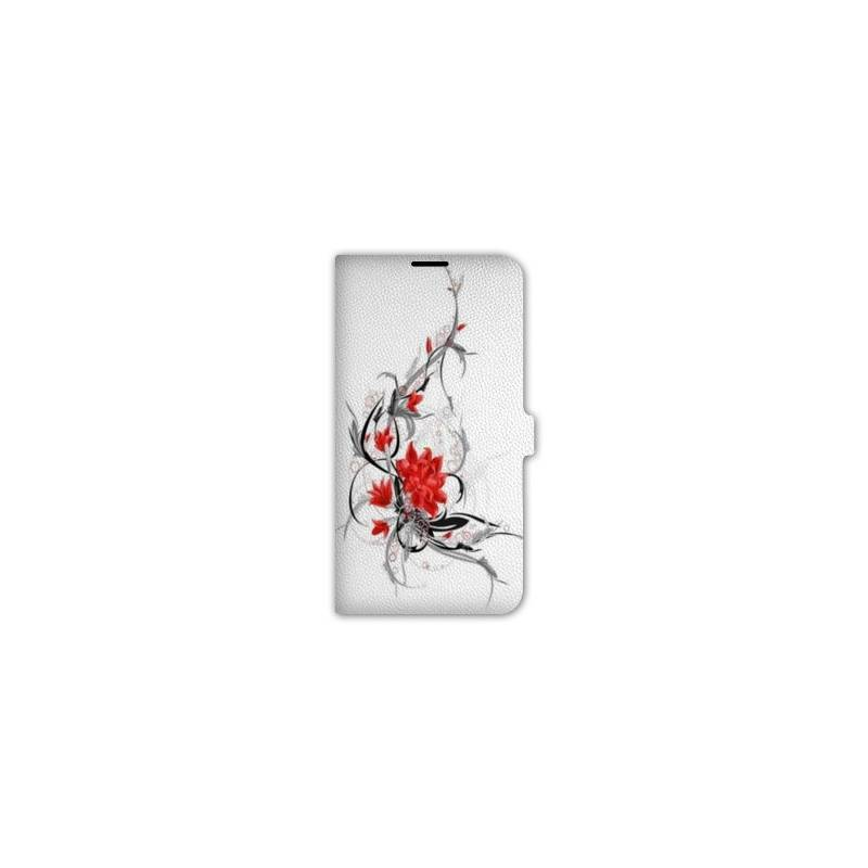 Housse cuir portefeuille pour iphone 7 fleurs