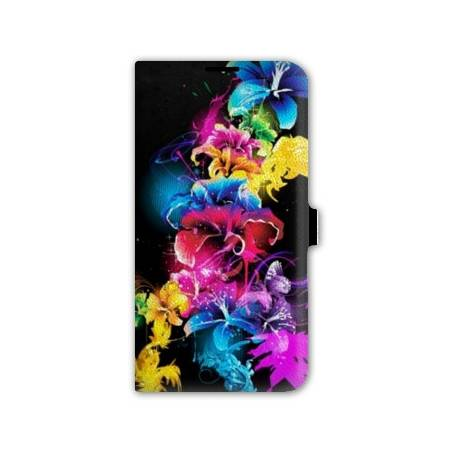 Housse cuir portefeuille Iphone 7 fleurs