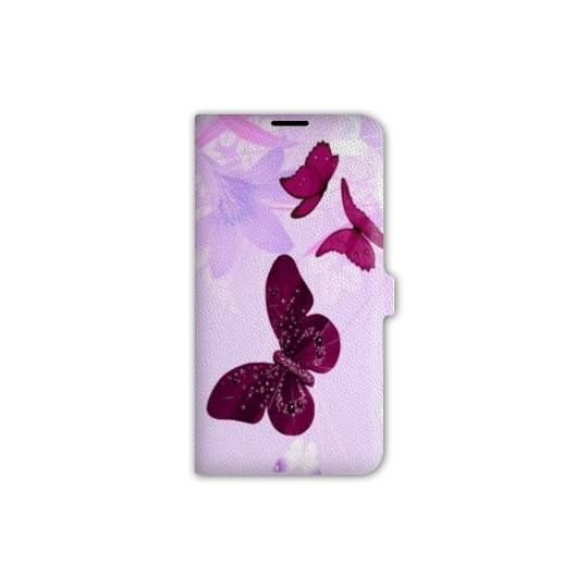 Housse cuir portefeuille Iphone 7 papillons