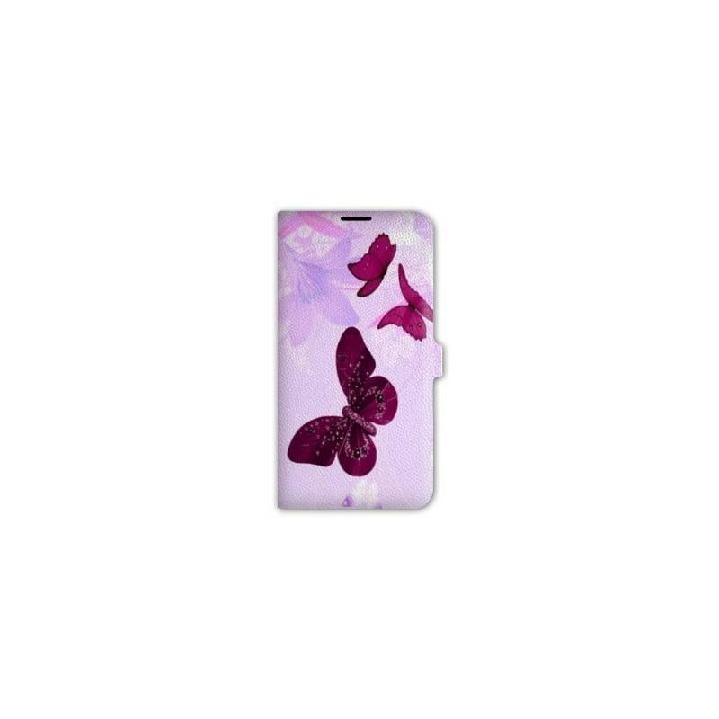 Housse cuir portefeuille pour iphone 7 papillons