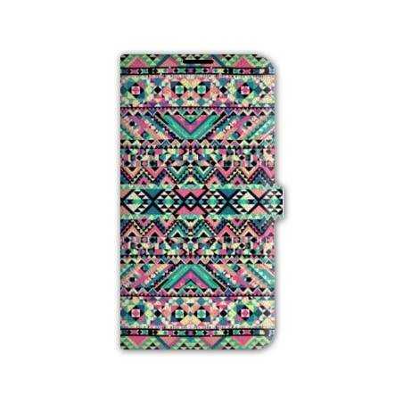 Housse cuir portefeuille Iphone 7 motifs Aztec azteque