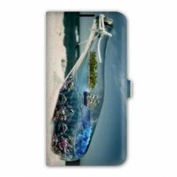 Housse cuir portefeuille Iphone 7 Mer