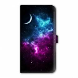 Housse cuir portefeuille Iphone 7 Espace Univers Galaxie