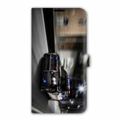 Housse cuir portefeuille Iphone 7 pompier police