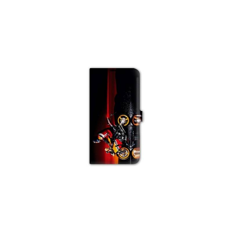 Housse cuir portefeuille iphone 7 moto for Iphone housse cuir