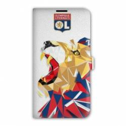 Housse cuir portefeuille Iphone 7 WB License Olympique Lyonnais OL - lion color