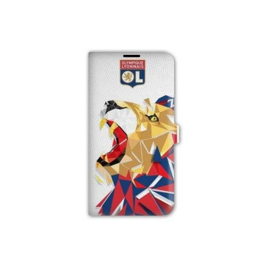 Housse cuir portefeuille Iphone 7  License Olympique Lyonnais OL - lion color