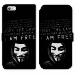 RV Housse cuir portefeuille Iphone 6 / 6s Anonymous