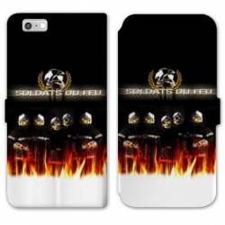 RV Housse cuir portefeuille Iphone 6 / 6s pompier police