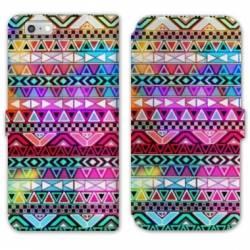 RV Housse cuir portefeuille Iphone 7 motifs Aztec azteque