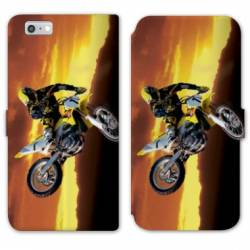 RV Housse cuir portefeuille Iphone 7 Moto