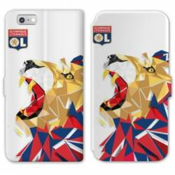 RV Housse cuir portefeuille Iphone 7 License Olympique Lyonnais OL - lion color