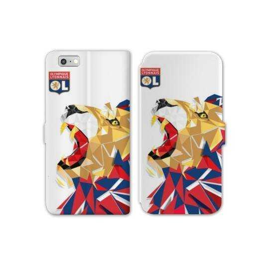 RV Housse cuir portefeuille Iphone 7 License Olympique Lyonnais OL - lion color