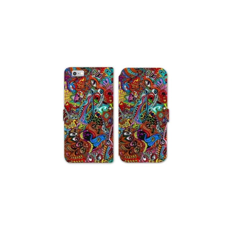 Rv housse cuir portefeuille iphone 7 psychedelic for Housse iphone 7 cuir