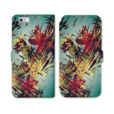 RV Housse cuir portefeuille Iphone 6 / 6s Grunge