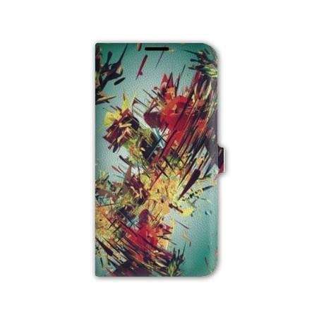 Housse cuir portefeuille Iphone 7 Grunge