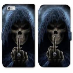 RV Housse cuir portefeuille Iphone 8 tete de mort