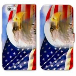 RV Housse cuir portefeuille Iphone 8 Amerique