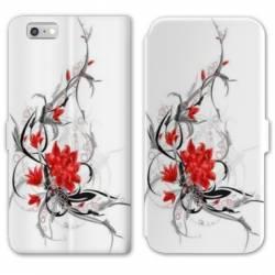 RV Housse cuir portefeuille Iphone 8 fleurs