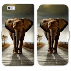 RV Housse cuir portefeuille Iphone 8 savane