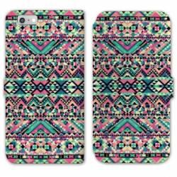 RV Housse cuir portefeuille Iphone 8 motifs Aztec azteque