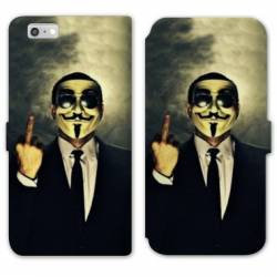 RV Housse cuir portefeuille Iphone 8 Anonymous