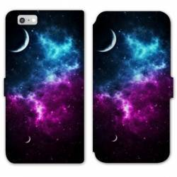 RV Housse cuir portefeuille Iphone 8 Espace Univers Galaxie