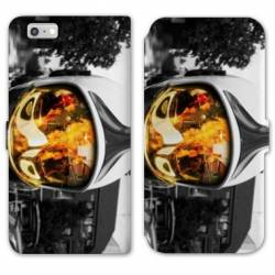 RV Housse cuir portefeuille Iphone 8 pompier police