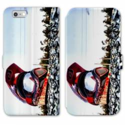 RV Housse cuir portefeuille Iphone 8 Moto