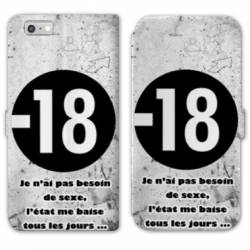 RV Housse cuir portefeuille Iphone 8 Humour