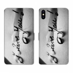 RV Housse cuir portefeuille Iphone x amour