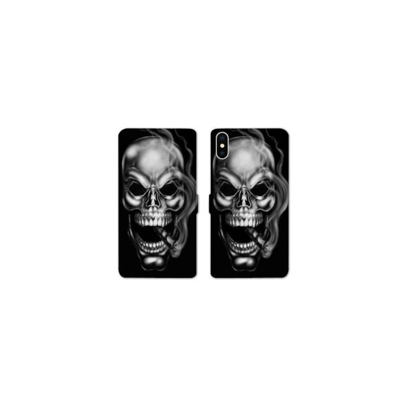 RV Housse cuir portefeuille pour iphone X / XS tete de mort