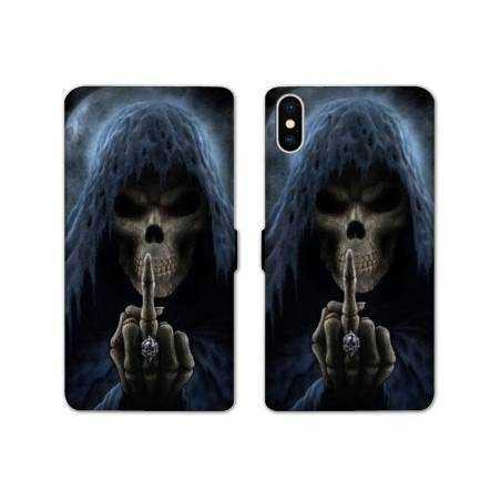 RV Housse cuir portefeuille Iphone x tete de mort