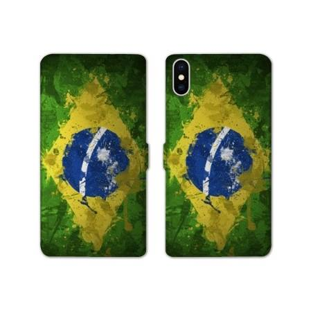 RV Housse cuir portefeuille Iphone x Bresil