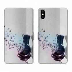 RV Housse cuir portefeuille Iphone x techno