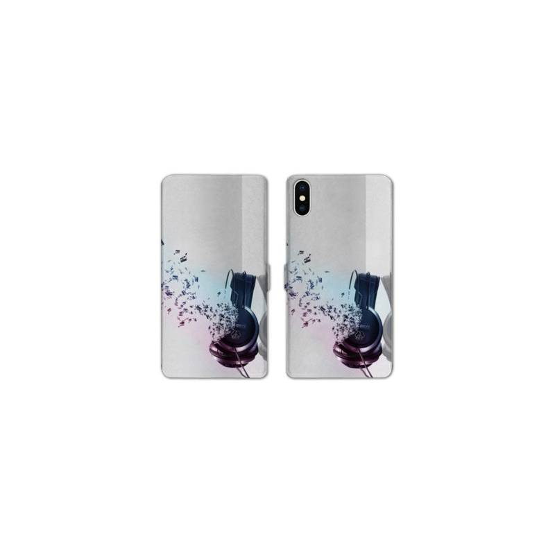 Rv housse cuir portefeuille iphone x techno for Interieur iphone x