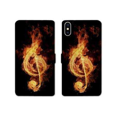 RV Housse cuir portefeuille Iphone x Musique