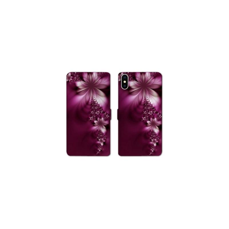 Rv housse cuir portefeuille iphone x fleurs for Housse iphone x