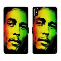RV Housse cuir portefeuille Iphone x Bob Marley