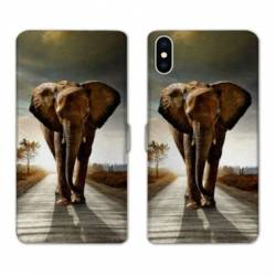 RV Housse cuir portefeuille Iphone x savane
