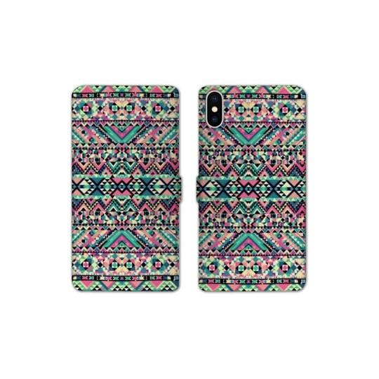 Rv housse cuir portefeuille iphone x motifs aztec azteque for Housse iphone x