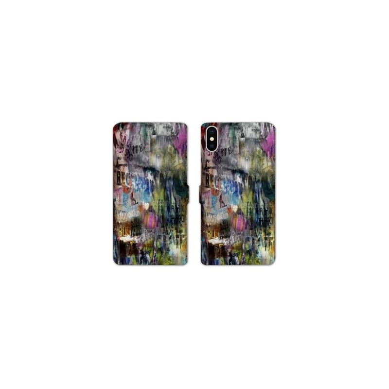 Rv housse cuir portefeuille iphone x grunge for Housse iphone x