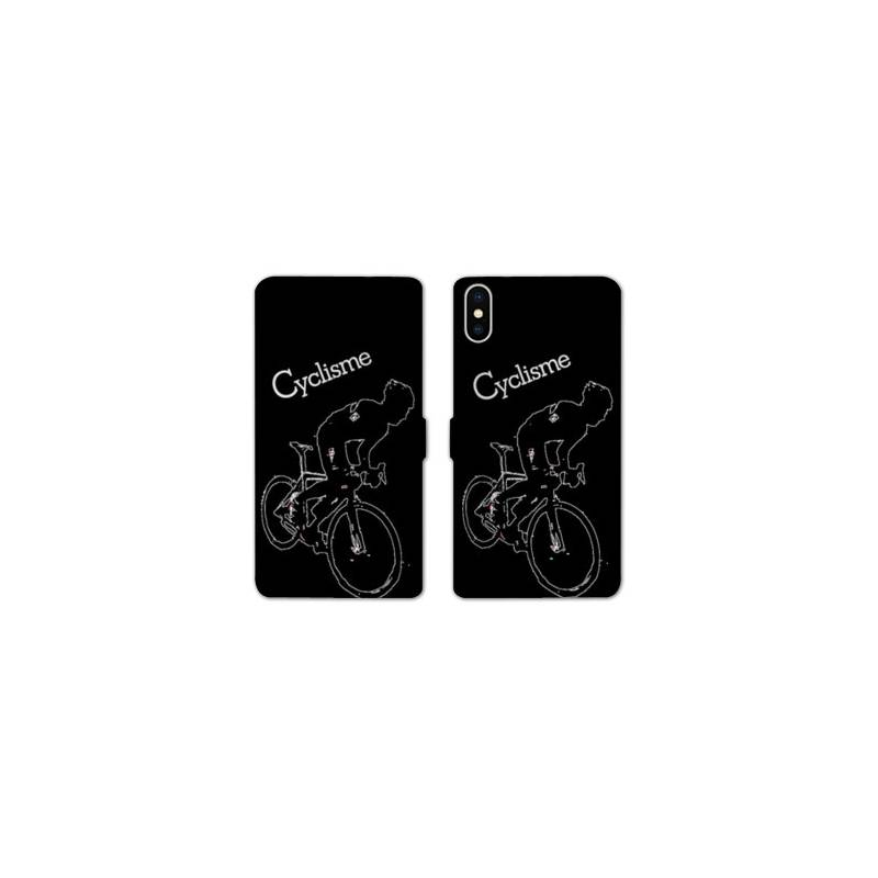 Rv housse cuir portefeuille iphone x cyclisme for Housse iphone x