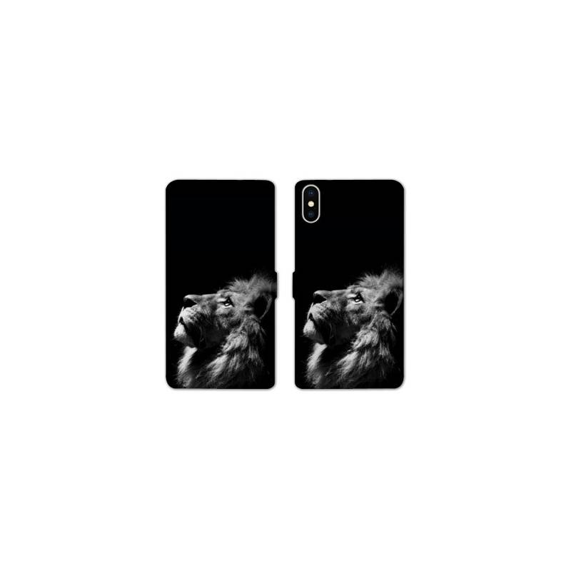 Rv housse cuir portefeuille iphone x felins for Housse iphone x