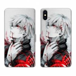 RV Housse cuir portefeuille Iphone x Manga - divers