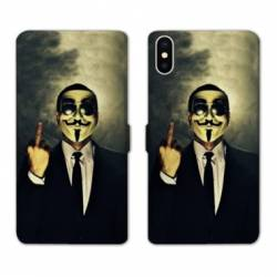 RV Housse cuir portefeuille Iphone x Anonymous