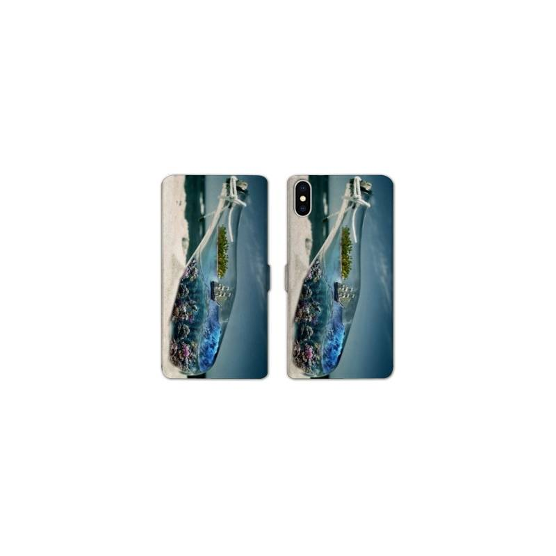 Rv housse cuir portefeuille iphone x mer for Housse iphone x